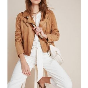 NWT CLASSIC ANTHROPOLOGIE SUEDE MOTO JACKET